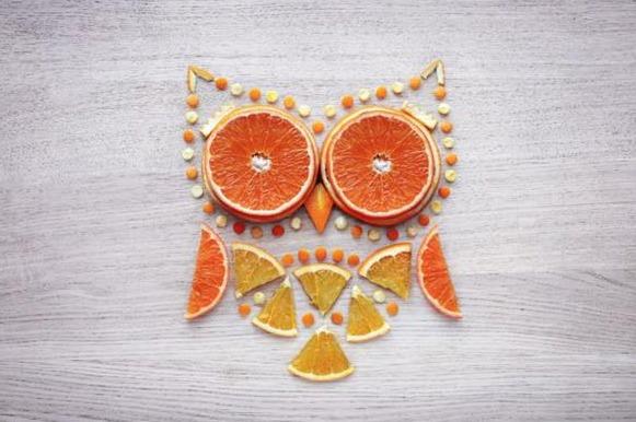 Coruja feita com laranjas